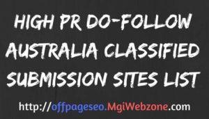 High PR DoFollow Australia Classified Submission Sites List 2020