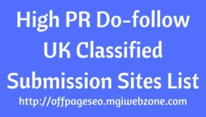 High PR UK Classified Submission Sites List