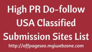 High PR USA Classified Submission Sites List
