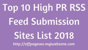 Top 10 High PR RSS Feed Submission Sites List 2018