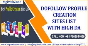 Dofollow Profile Creation Sites List with High DA
